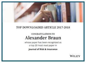 "06.06.2019: I.VW-Artikel schafft ""Top-Downloaded""-Artikel im Journal of Risk and Insurance"
